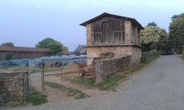 Séchoir et tas d'ensilage en plein milieu du village.